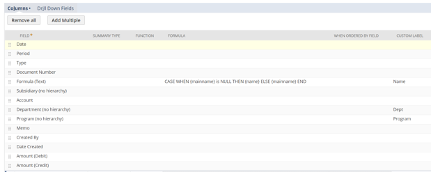 GL Posting saved search result columns