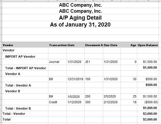 NetSuite example AP subledger open transactions