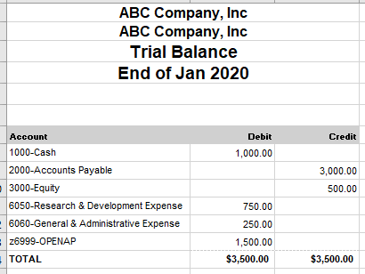 NetSuite example trial balance open transactions
