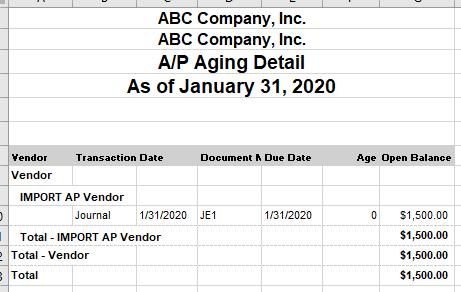 NetSuite open AP transactions import AP vendor